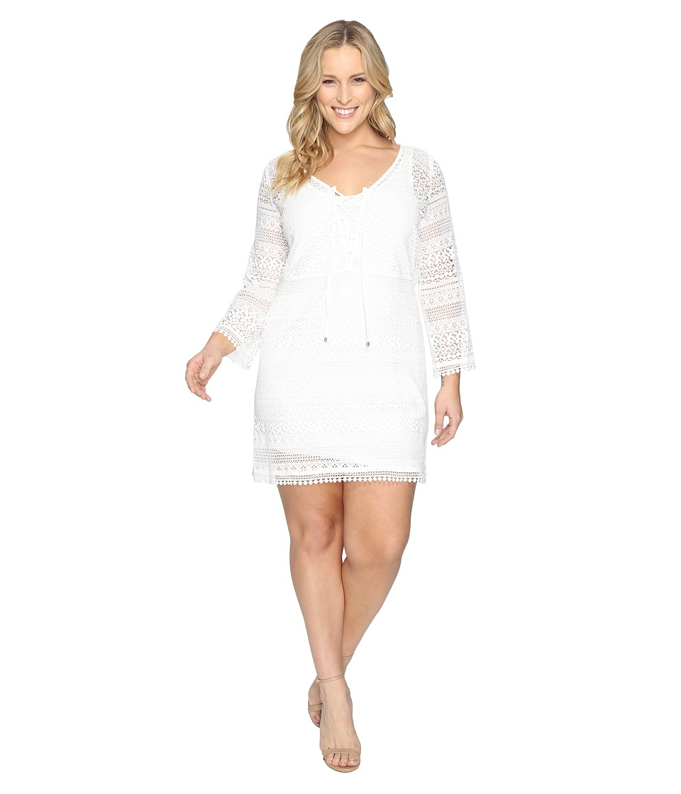 Adrianna Papell - Lace Long Sleeve Dress (White) Women's Dress
