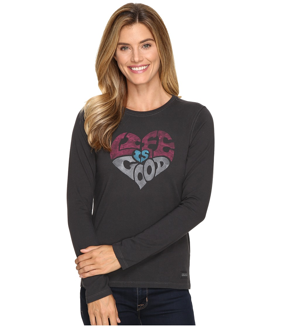 Life is good - Life is Good Heart Long Sleeve Crusher Tee (Night Black) Women's T Shirt