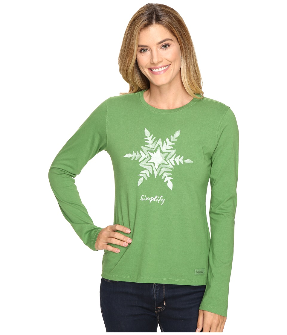 Life is Good - Painted Simplify Snowflake Long Sleeve Crusher Tee (Treetop Green) Women's Long Sleeve Pullover