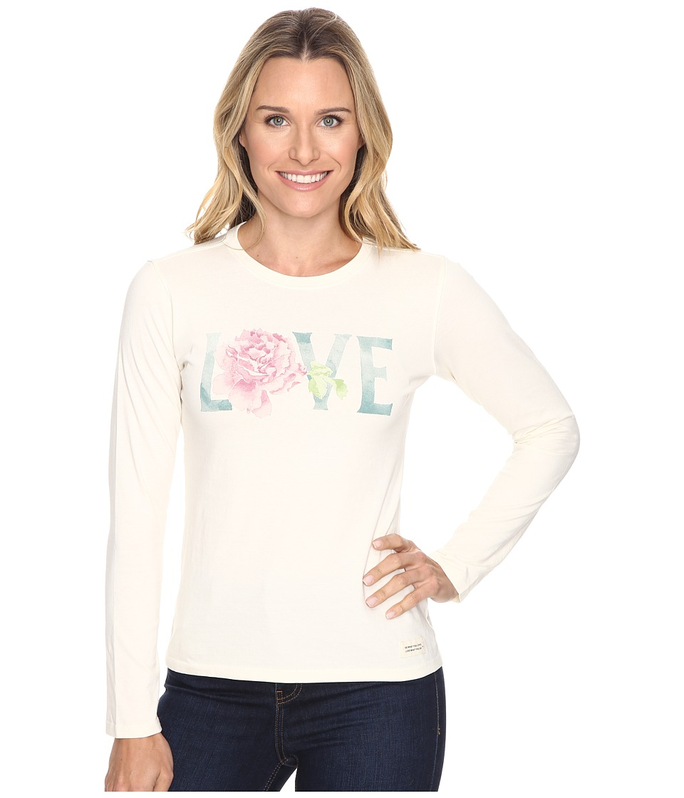Life is Good - Love Rose Long Sleeve Crusher Tee (Simply Ivory) Women's Long Sleeve Pullover