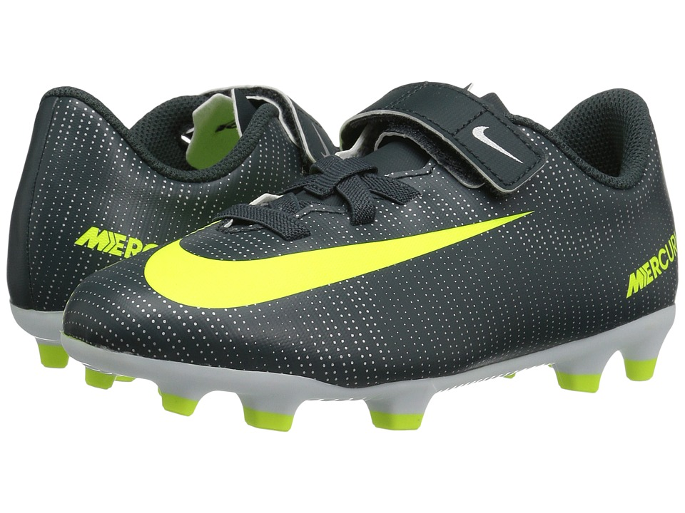 Nike Kids - Jr Mercurial Vortex III (V) CR7 FG Soccer (Little Kid) (Seaweed/Hasta/White/Volt) Kids Shoes