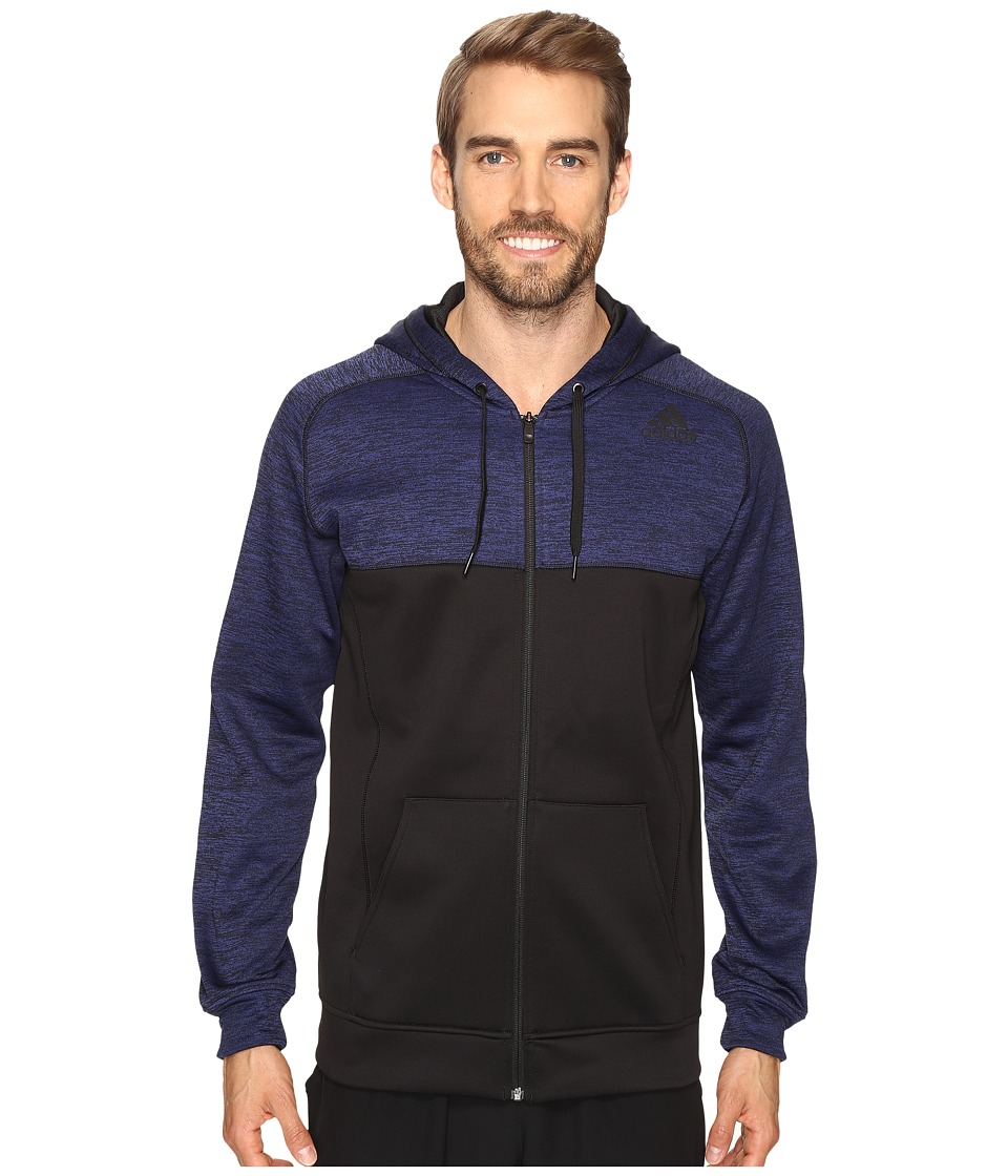 adidas - Team Issue Fleece Full-Zip Hoodie - Block (Unity Ink/Black) Men's Sweatshirt