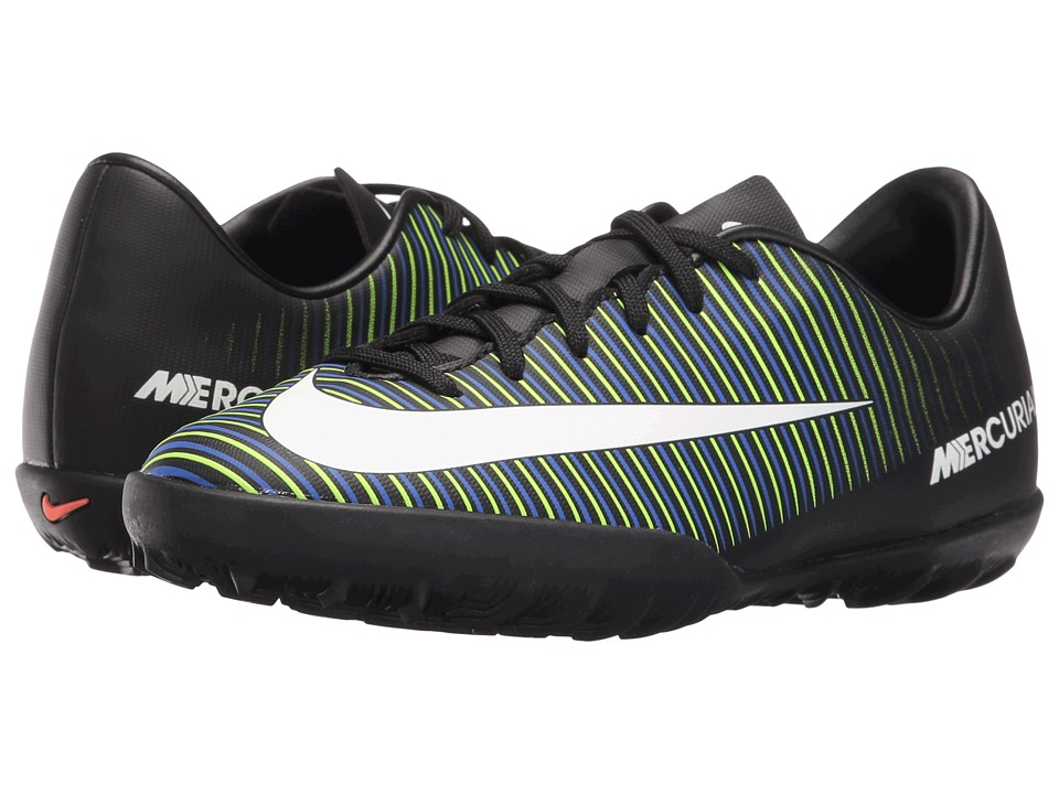 Nike Kids - JR Mercurial Vapor XI TF Soccer (Toddler/Little Kid/Big Kid) (Black/Electric Green/Paramount Blue/White) Kids Shoes