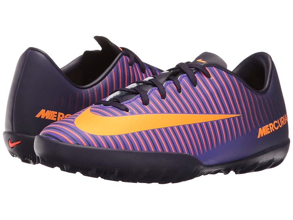 Nike Kids - JR Mercurial Vapor XI TF Soccer (Toddler/Little Kid/Big Kid) (Purple Dynasty/Hyper Grape/Total Crimson/Bright Citrus) Kids Shoes