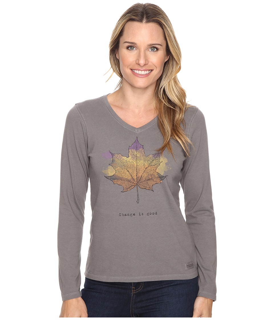 Life is good - Change is Good Leaf Long Sleeve Crusher Vee (Slate Gray) Women's Long Sleeve Pullover