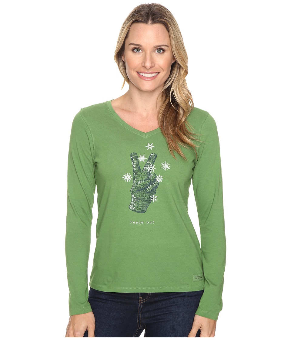 Life is good - Peace Out Glove Long Sleeve Crusher Vee (Treetop Green) Women's Long Sleeve Pullover