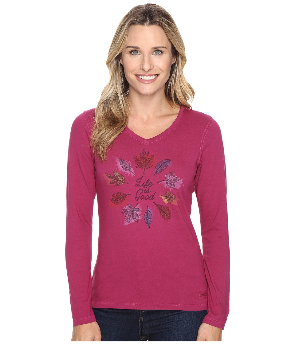 Life is good - Circle Leaf Long Sleeve Crusher Vee (Wild Plum) Women's Long Sleeve Pullover