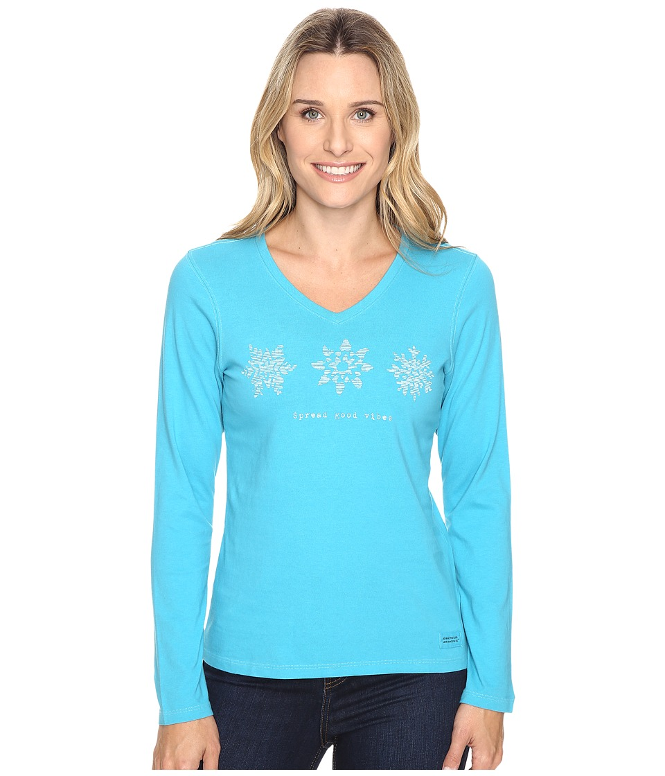 Life is good - Spread Good Vibes Snowflakes Long Sleeve Crusher Vee (Vivid Blue) Women's Long Sleeve Pullover