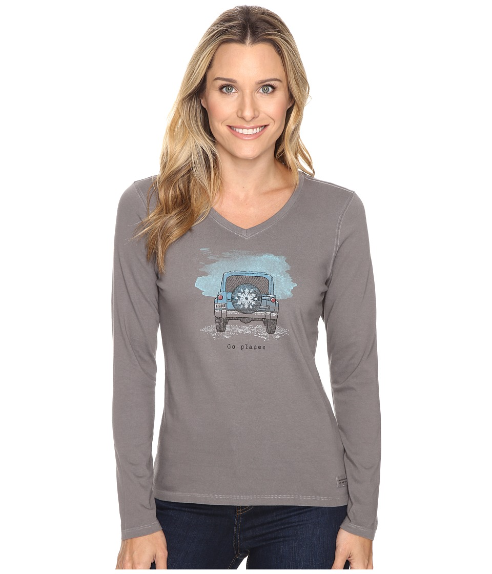 Life is good - Go Places Tire Cover Long Sleeve Crusher Vee (Slate Gray) Women's Long Sleeve Pullover
