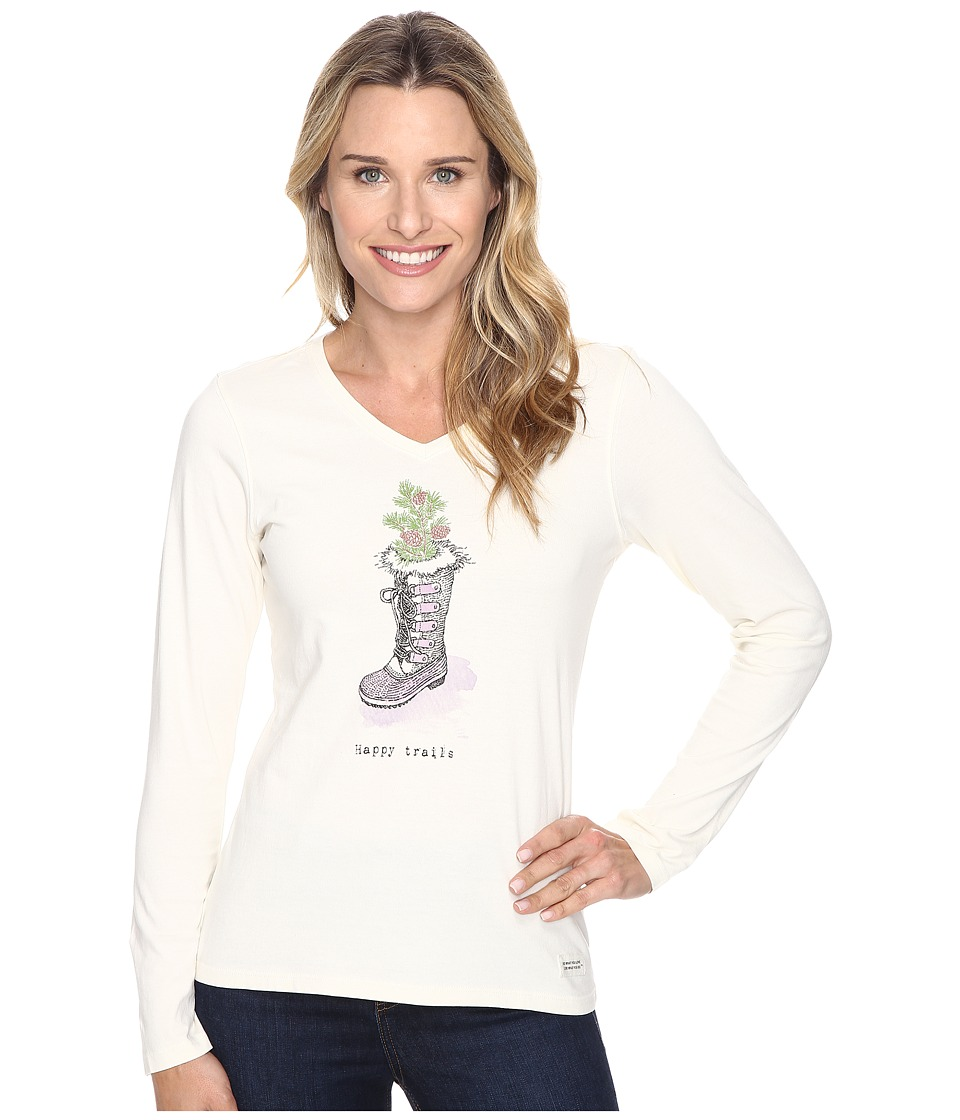 Life is Good - Happy Trails Winter Boot Long Sleeve Crusher Vee (Simply Ivory) Women's Long Sleeve Pullover