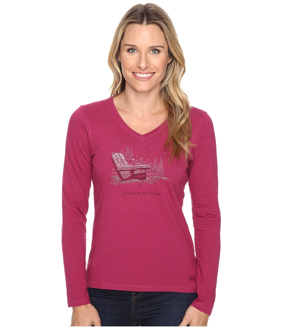 Life is Good - Positive Altitude Adirondack Long Sleeve Crusher Vee (Wild Plum) Women's Long Sleeve Pullover