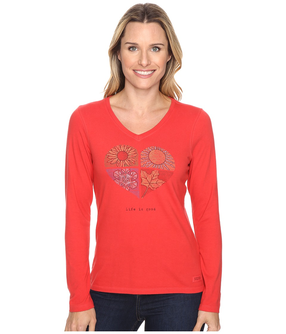 Life is good - Life is Good Four Seasons Heart Long Sleeve Crusher Vee (Simply Red) Women's Long Sleeve Pullover