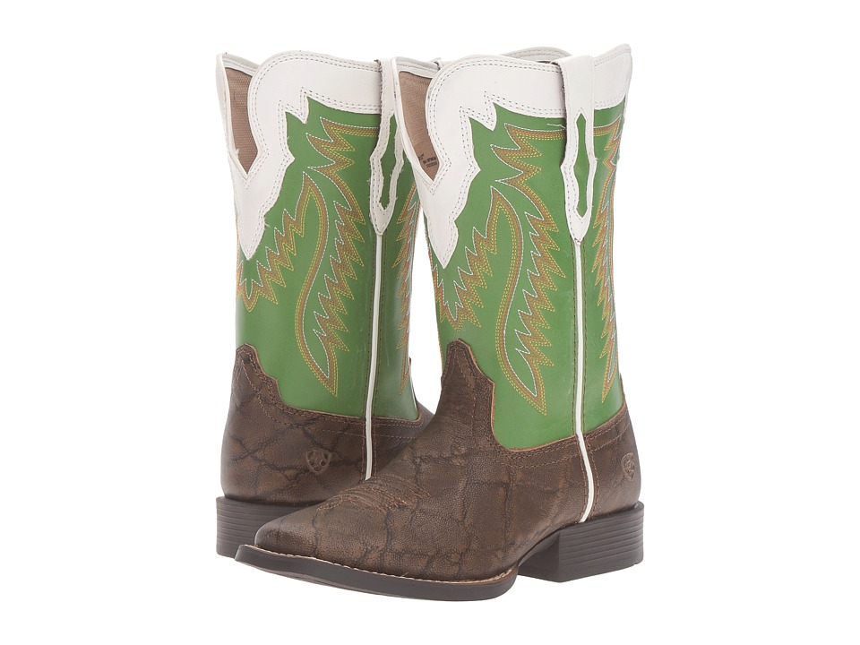 Ariat Kids - Buscadero (Toddler/Little Kid/Big Kid) (Tan Elephant Print/Clover Green) Cowboy Boots