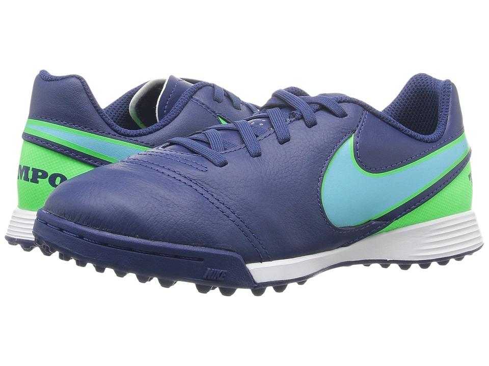 Nike Kids - Jr Tiempo Legend VI TF Soccer (Toddler/Little Kid/Big Kid) (Coastal Blue/Rage Green/Polarized Blue) Kids Shoes