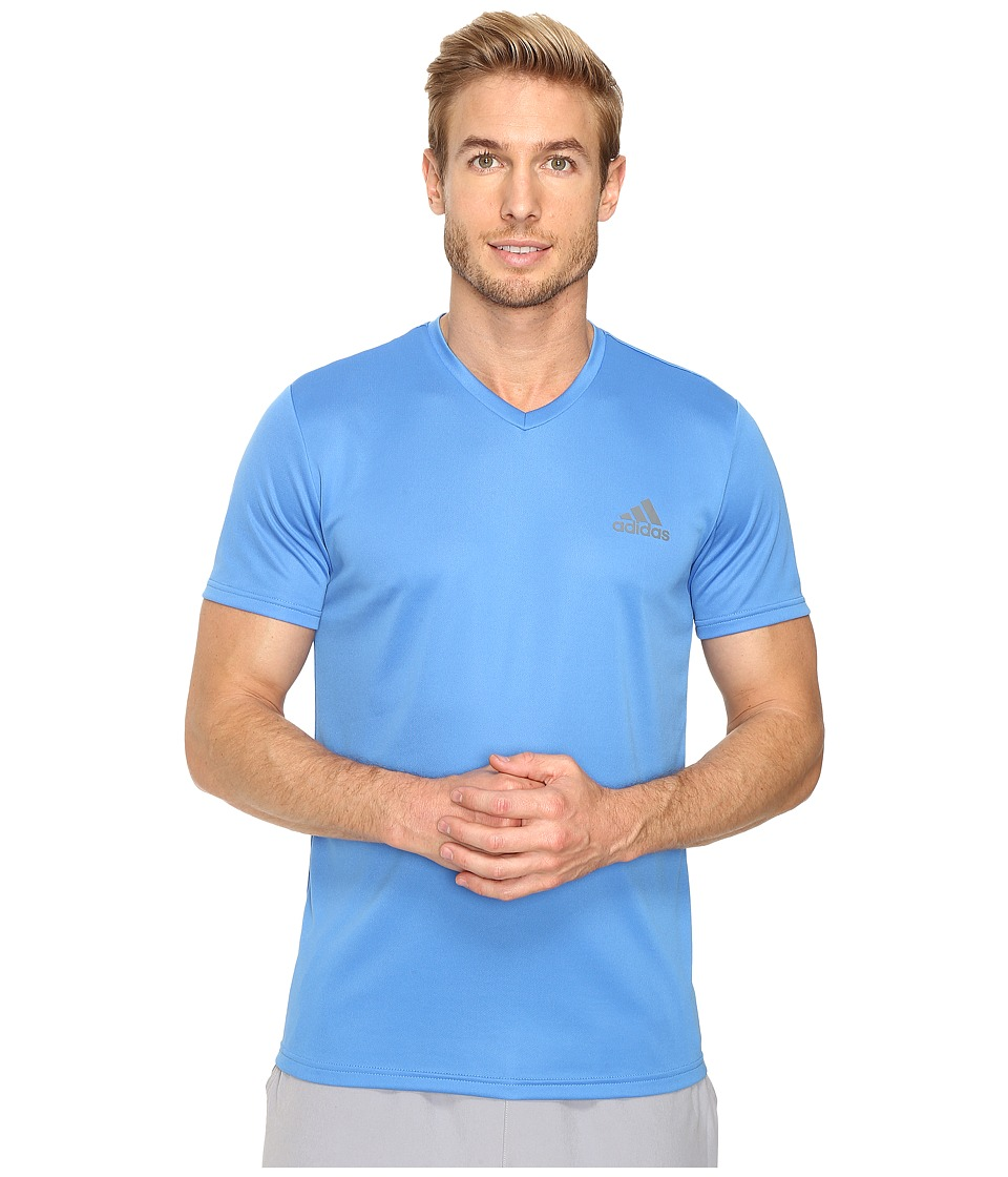 adidas - Essential Tech V-Neck Tee (Ray Blue/Vista Grey) Men's T Shirt