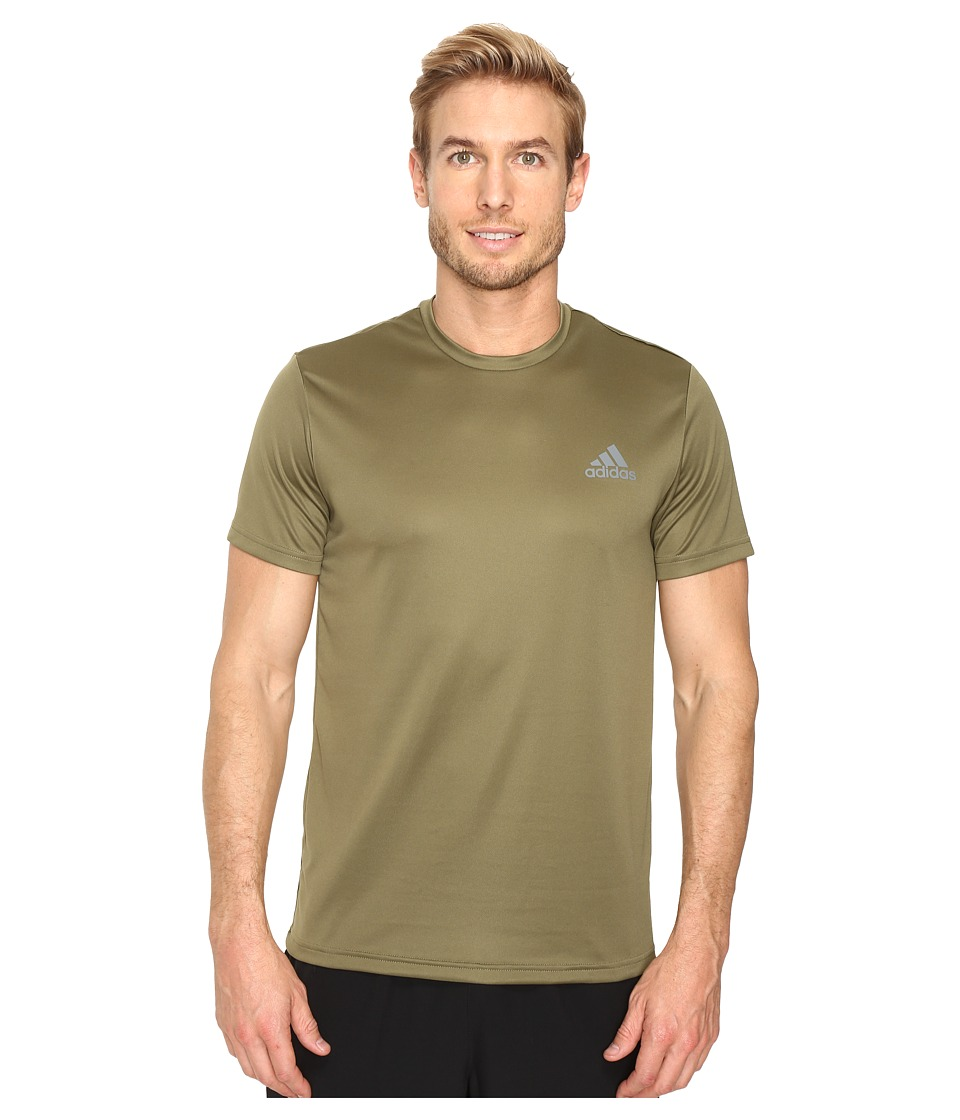 adidas - Essential Tech Crew Tee (Olive Cargo/Vista Grey) Men's T Shirt