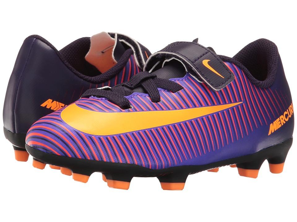 Nike Kids - Jr Mercurial Vortex III (V) FG Soccer (Toddler/Little Kid) (Purple Dynasty/Hyper Grape/Total Crimson/Bright Citrus) Kids Shoes