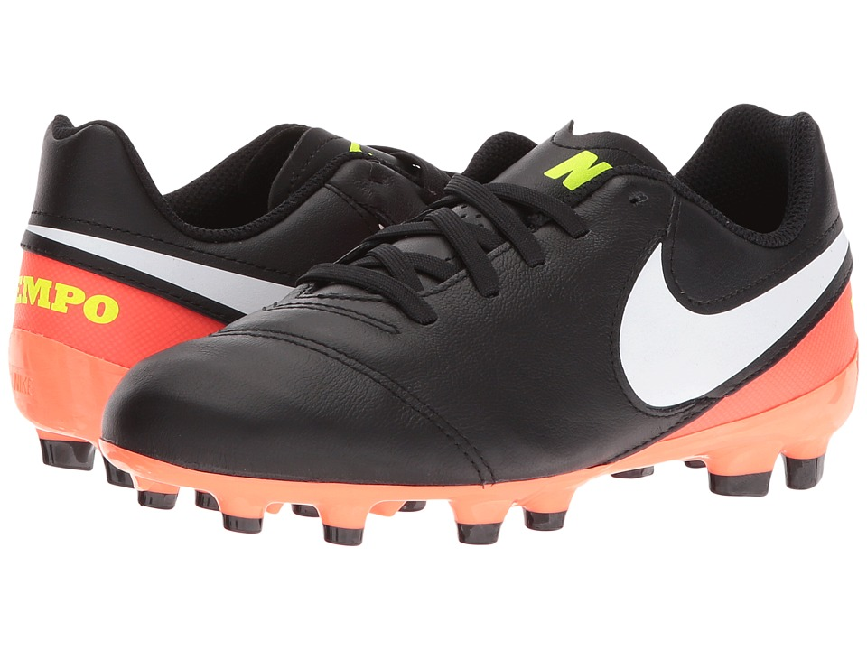 Nike Kids - Jr Tiempo Legend VI FG Soccer (Toddler/Little Kid/Big Kid) (Black/Hyper Orange/Volt/White) Kids Shoes