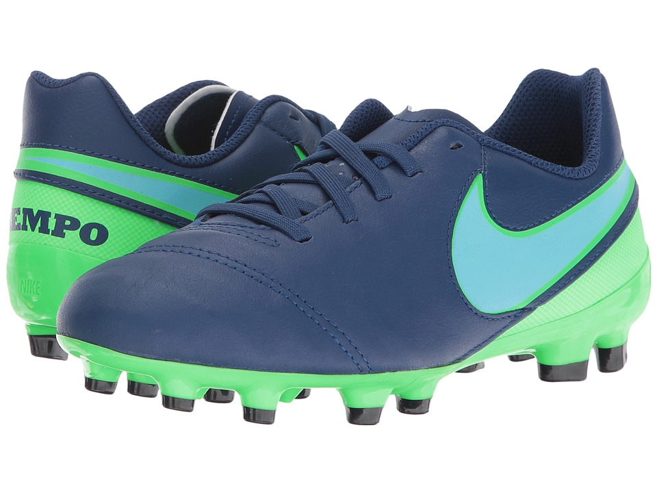 Nike Kids - Jr Tiempo Legend VI FG Soccer (Toddler/Little Kid/Big Kid) (Coastal Blue/Rage Green/Polarized Blue) Kids Shoes