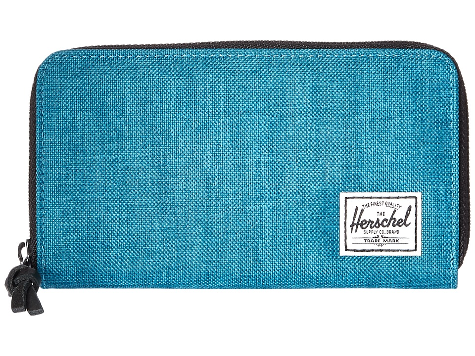 Herschel Supply Co. - Thomas with Zipper (Petrol Crosshatch) Wallet Handbags