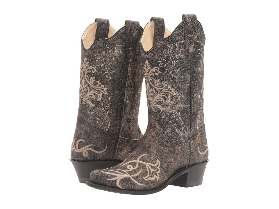Old West Kids Boots - Embroidered Vintage Charcoal Snip Toe (Big Kid) (Vintage) Cowboy Boots
