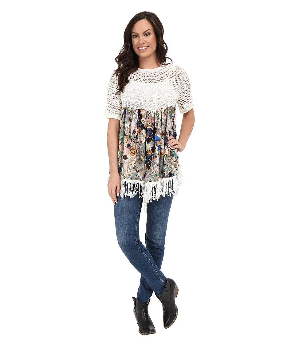 Petrol - Oh My Printed Fringe Top (Multi) Women's Clothing