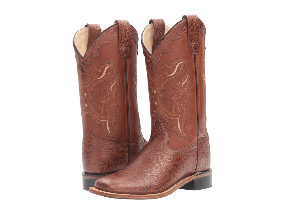 Old West Kids Boots - Square Toe Handed Tooled Print (Big Kid) (Tan) Cowboy Boots