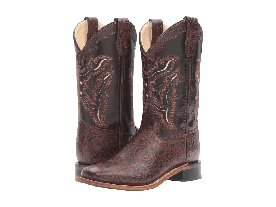 Old West Kids Boots - Square Toe Handed Tooled Print (Toddler/Little Kid) (Brown) Cowboy Boots