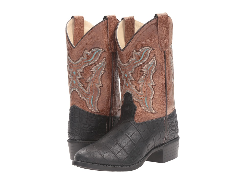 Old West Kids Boots - Round Toe Croco Print (Toddler/Little Kid) (Black) Cowboy Boots