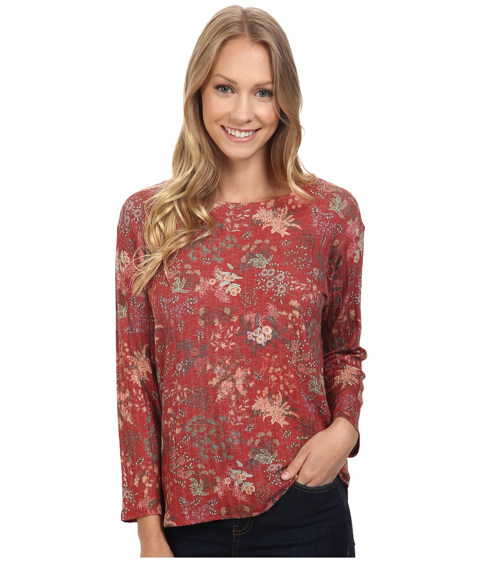 Nally & Millie - Floral Ribbed Top (Multi) Women's Clothing