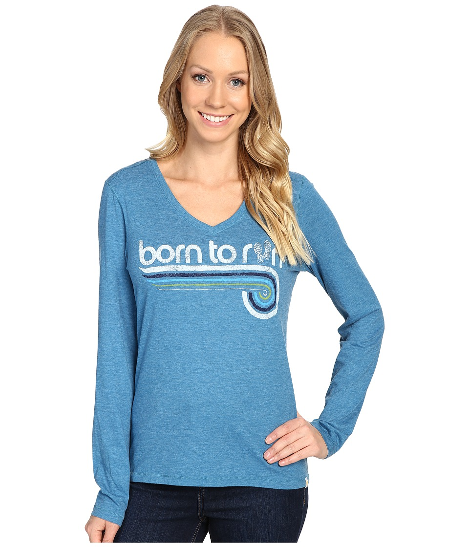 Life is good - Born To Run Sneakers Long Sleeve Cool Vee (Denim Blue) Women's Long Sleeve Pullover