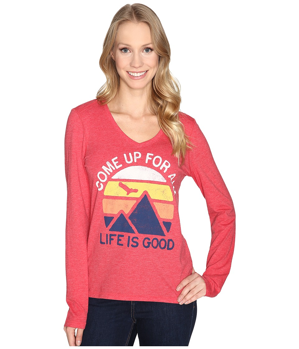 Life is Good - Come Up Air Mountains Long Sleeve Cool Vee (Simply Red) Women's Long Sleeve Pullover