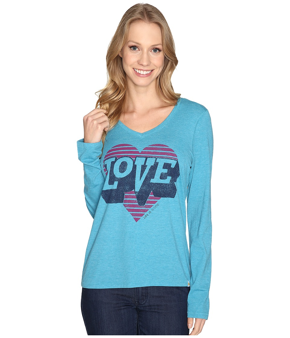 Life is Good - Love Heart Long Sleeve Cool Vee (Vivid Blue) Women's Long Sleeve Pullover