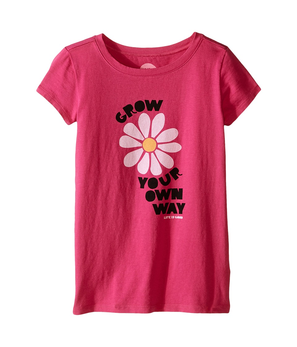 Life is good Kids - Grow Your Flower Crusher Tee (Little Kids/Big Kids) (Bold Pink) Girl's T Shirt