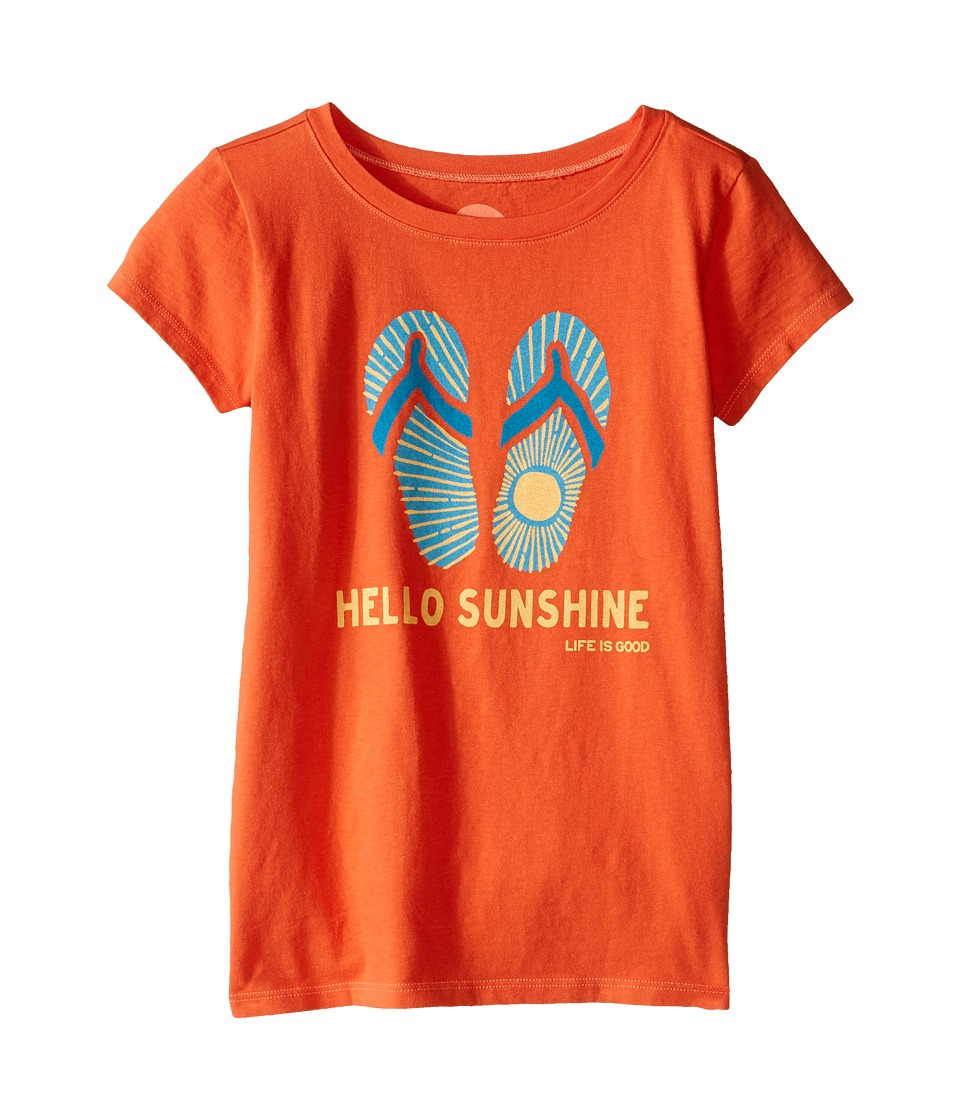 Life is good Kids - Flip Flops Sun Crusher Tee (Little Kids/Big Kids) (Coral Orange) Girl's T Shirt