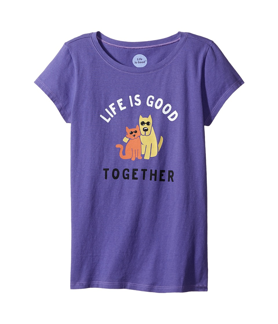 Life is good Kids - Together Hug Crusher Tee (Little Kids/Big Kids) (Blue Violet) Girl's T Shirt
