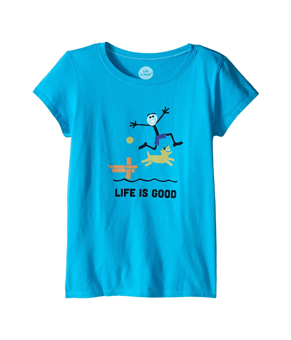Life is Good Kids - Elemental Dock Crushertm Tee (Little Kids/Big Kids) (Bright Blue) Girl's T Shirt