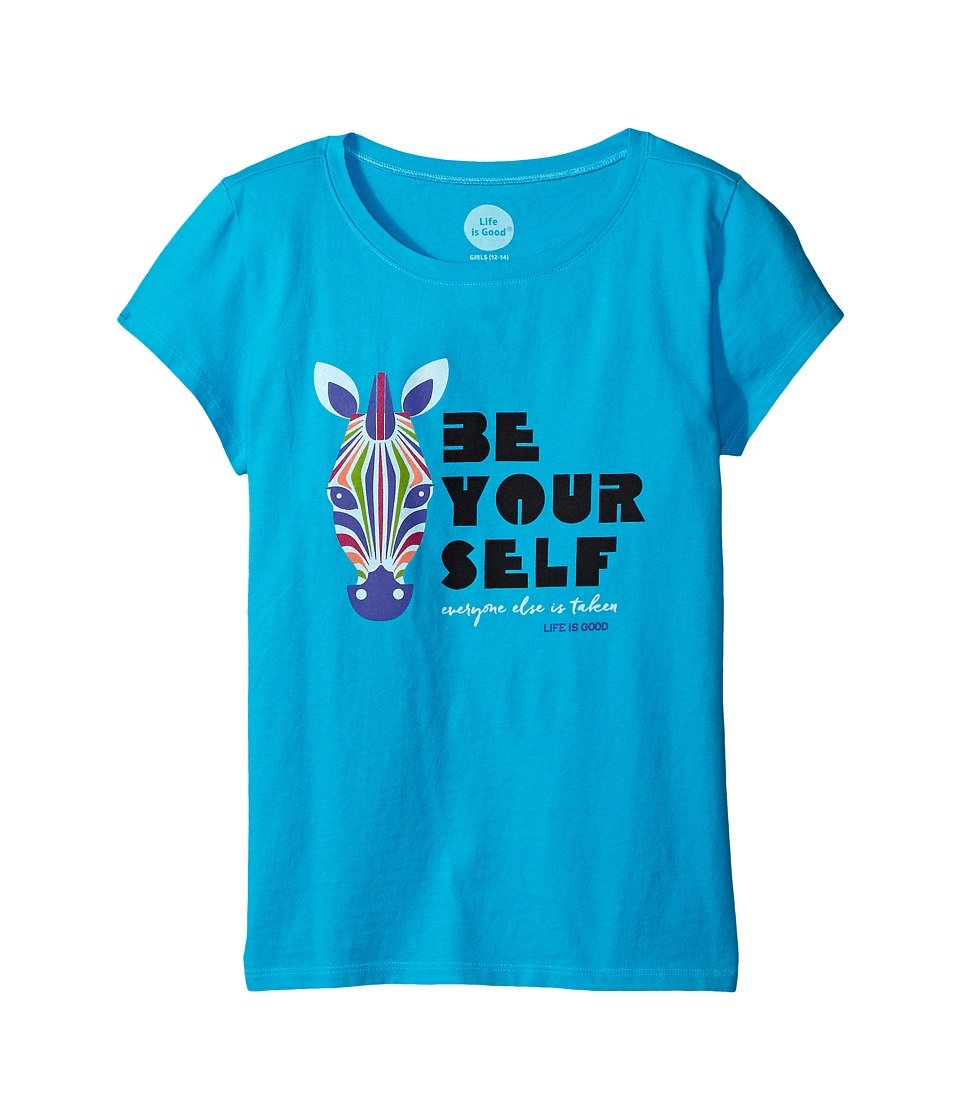 Life is good Kids - Be You Zebra Crusher Tee (Little Kids/Big Kids) (Bright Blue) Girl's T Shirt