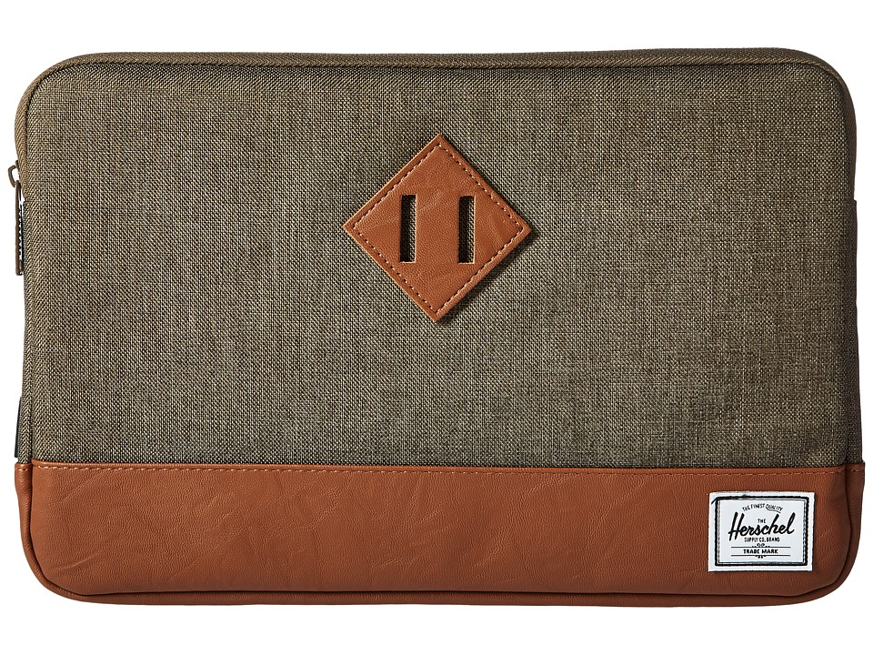 Herschel Supply Co. - Heritage Sleeve for 12inch MacBook (Canteen Crosshatch/Tan Synthetic Leather) Computer Bags