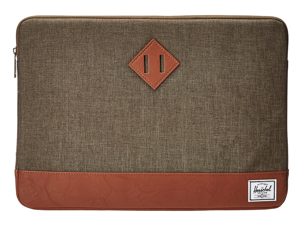 Herschel Supply Co. - Heritage Sleeve for 15inch Macbook (Canteen Crosshatch/Tan Synthetic Leather) Computer Bags
