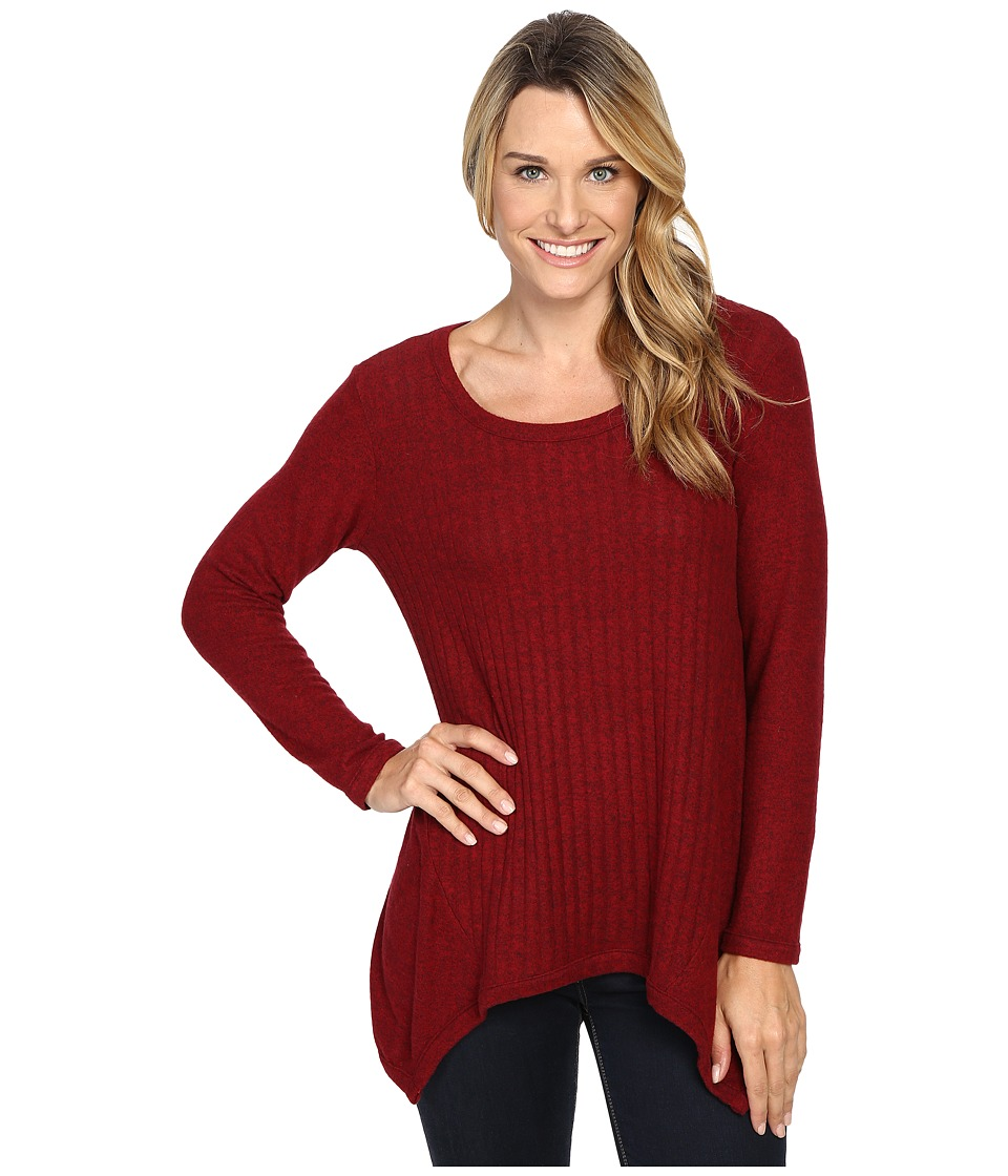 Nally & Millie - Ribbed Brushed Sweater Tunic (Burgundy) Women's Sweater