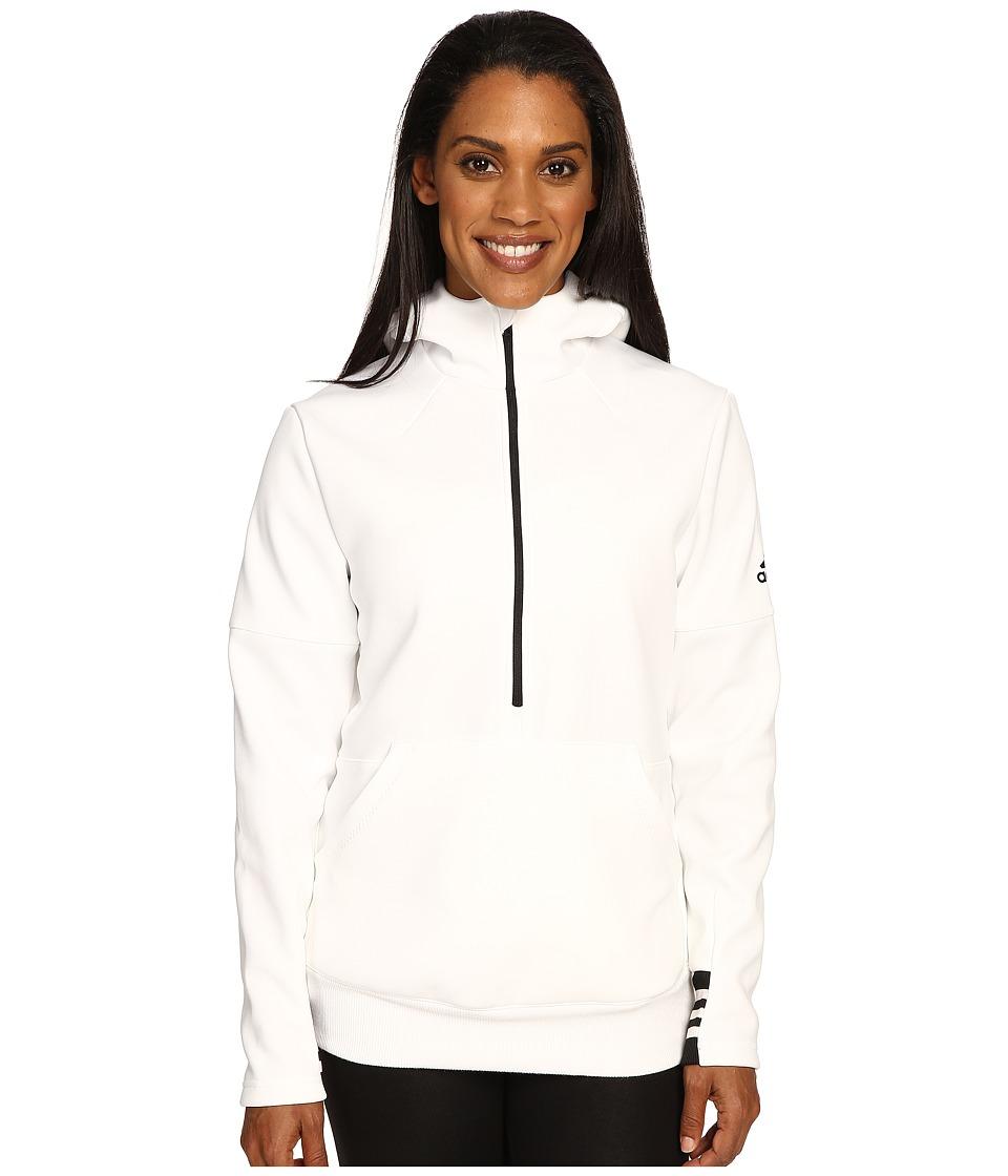 adidas - Sport ID 1/2 Zip Hoodie (White/Black/White) Women's Sweatshirt