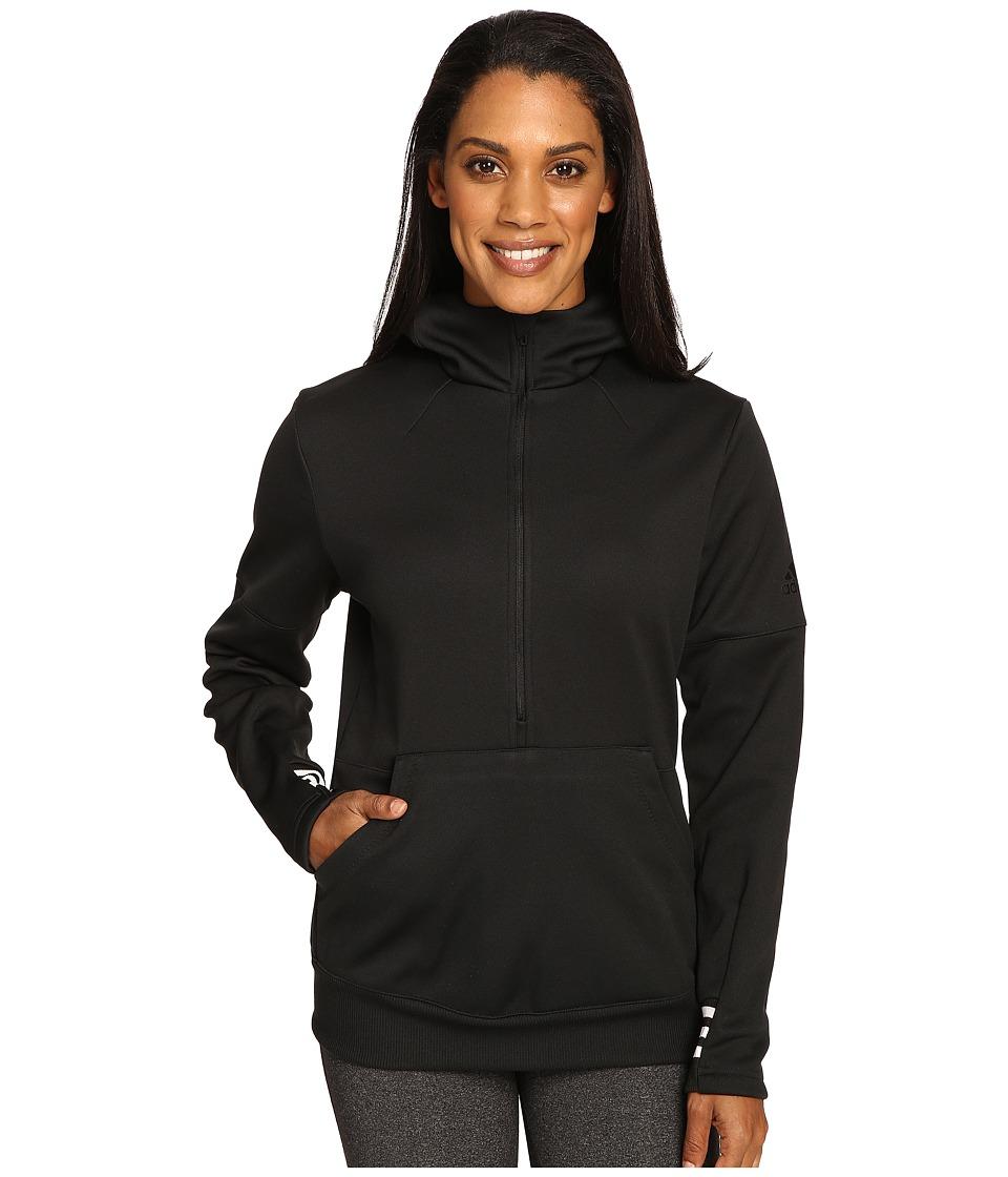 adidas - Sport ID 1/2 Zip Hoodie (Black/Utility Black/White) Women's Sweatshirt