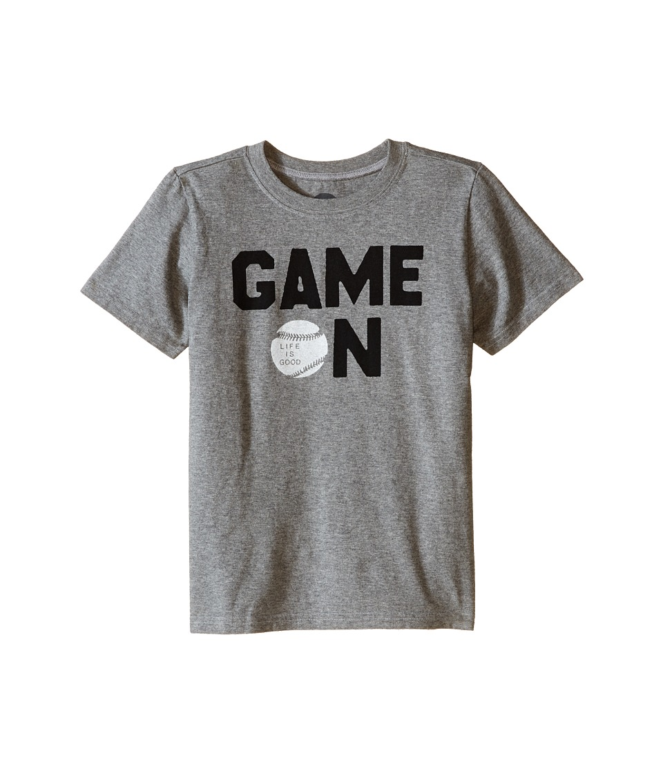 Life is good Kids - Game On Baseball Crusher Tee (Little Kids/Big Kids) (Heather Gray) Boy's T Shirt