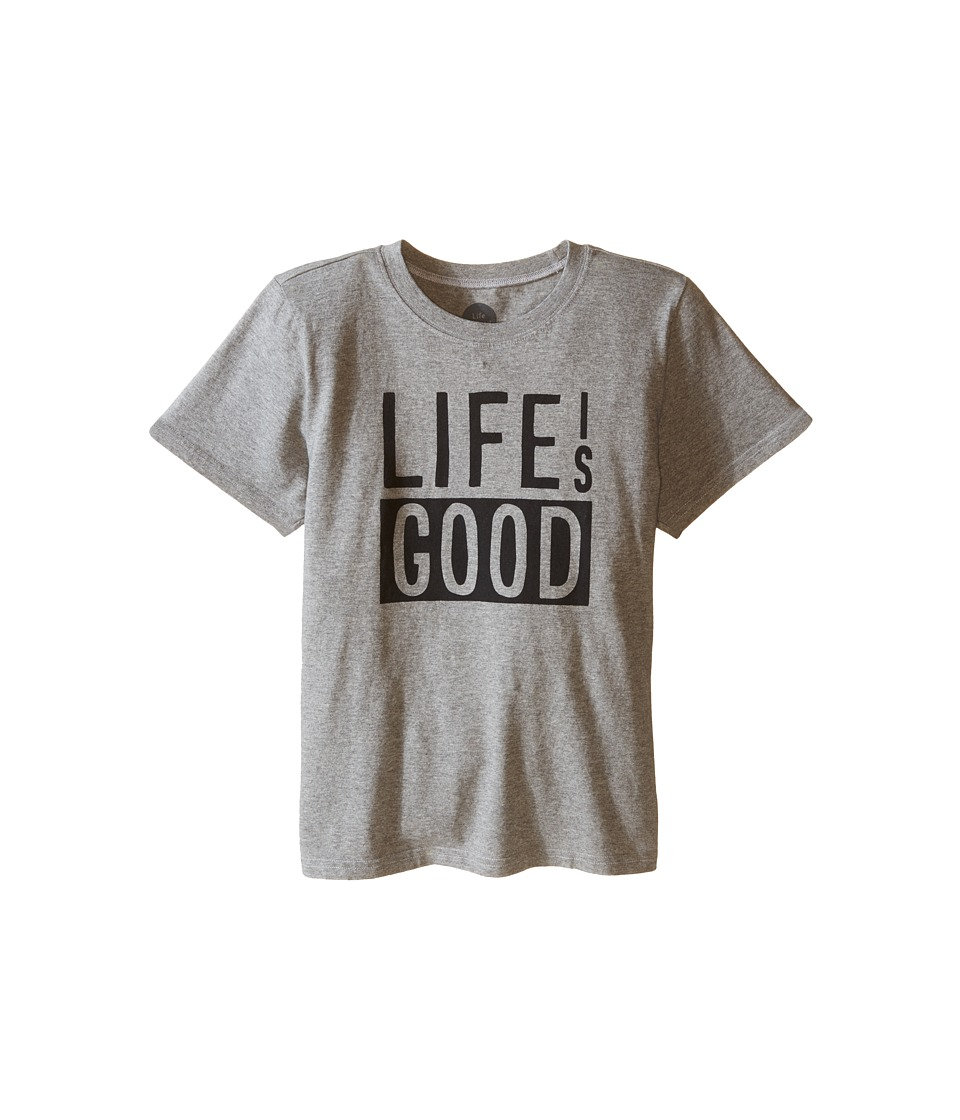 Life is good Kids - Life Is Good Block Crusher Tee (Little Kids/Big Kids) (Heather Gray) Boy's T Shirt
