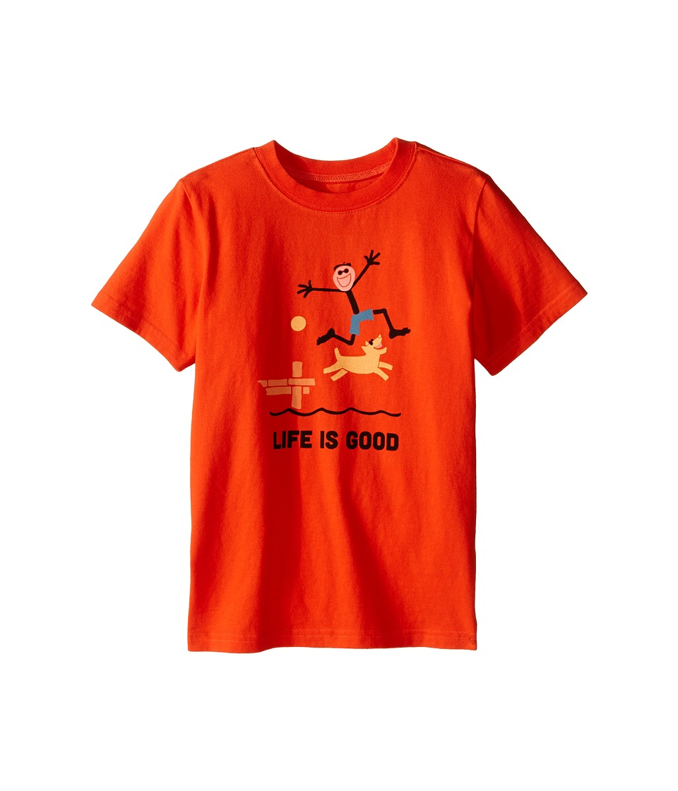 Life is good Kids - Elemental Dock Jump Crusher Tee (Little Kids/Big Kids) (Flame Orange) Boy's T Shirt