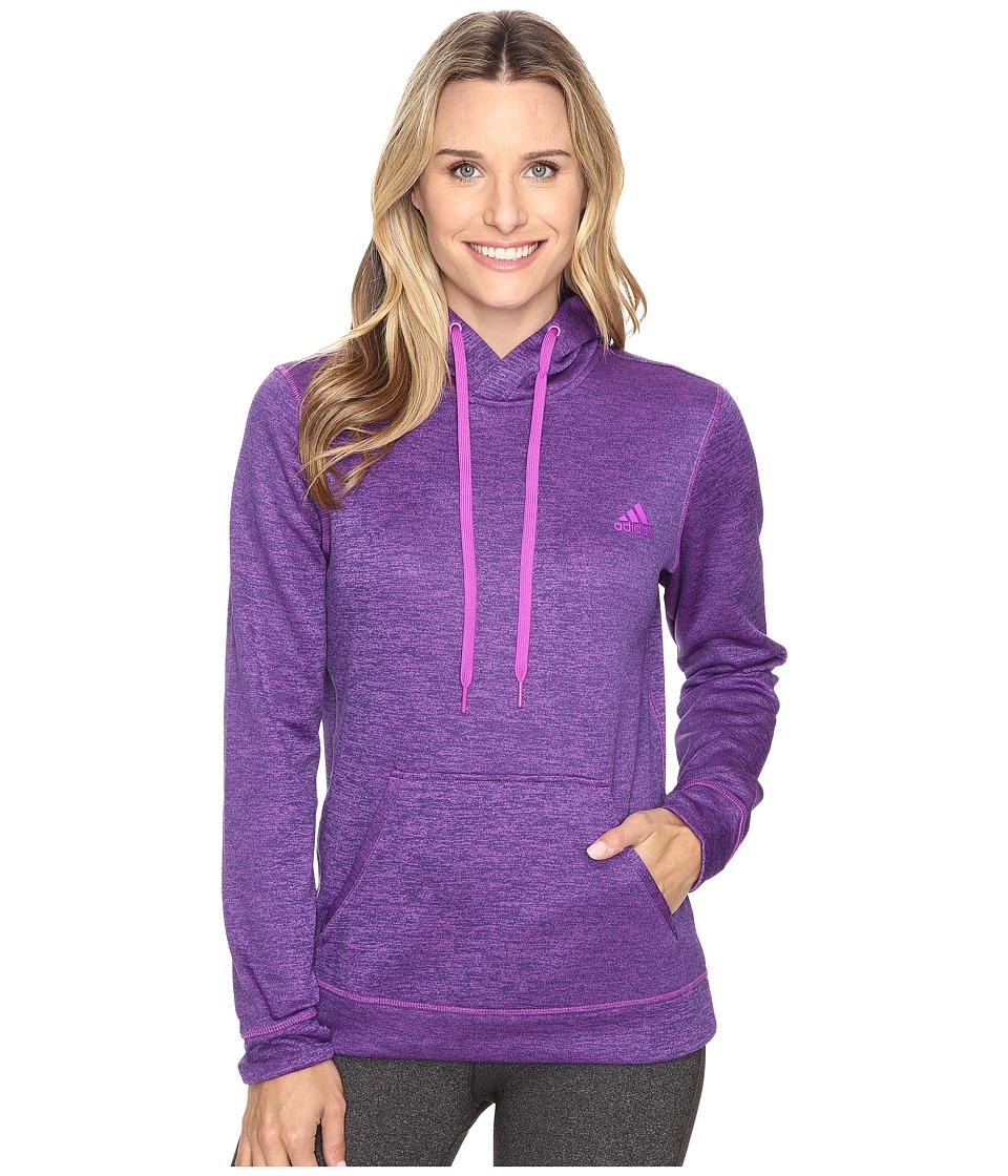 adidas - Team Issue Fleece Pullover Hoodie (Shock Purple Heather) Women's Sweatshirt