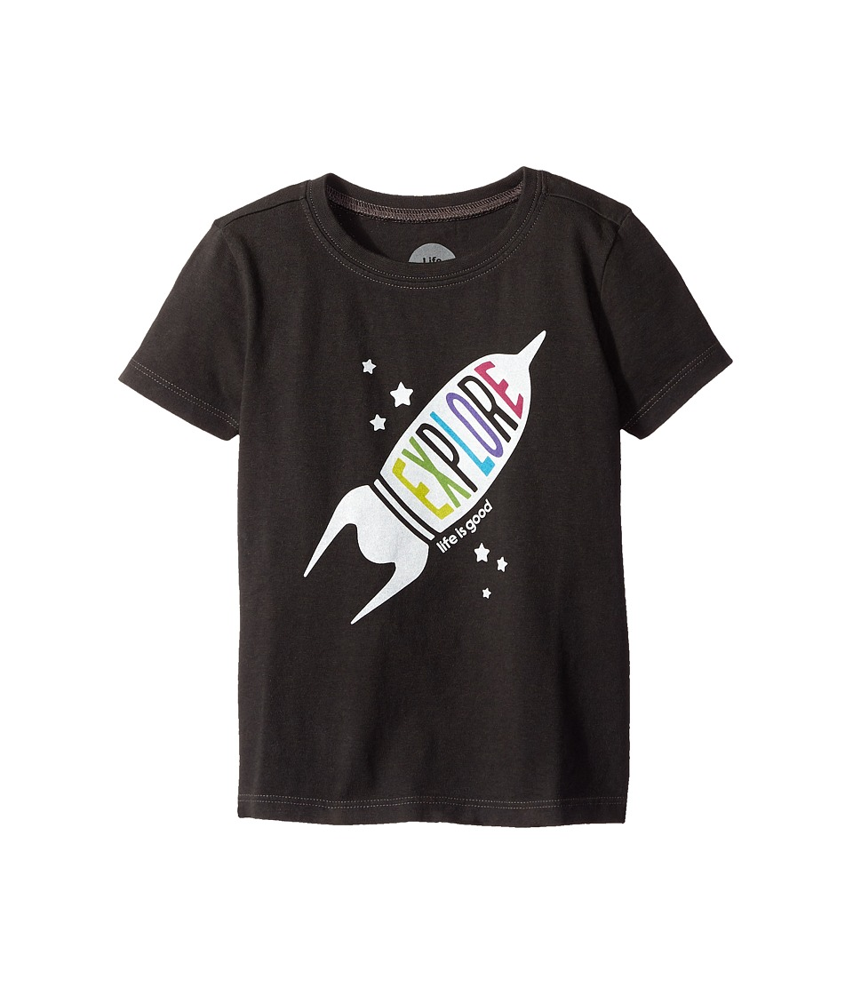 Life is good Kids - Explore Rocket Crusher Tee (Toddler) (Night Black) Boy's T Shirt