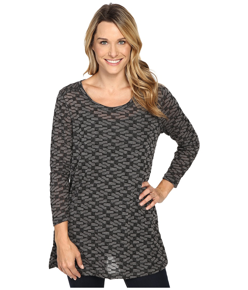 Nally & Millie - Textured Long Sleeve Tunic w/ Side Slits (Charcoal) Women's Clothing