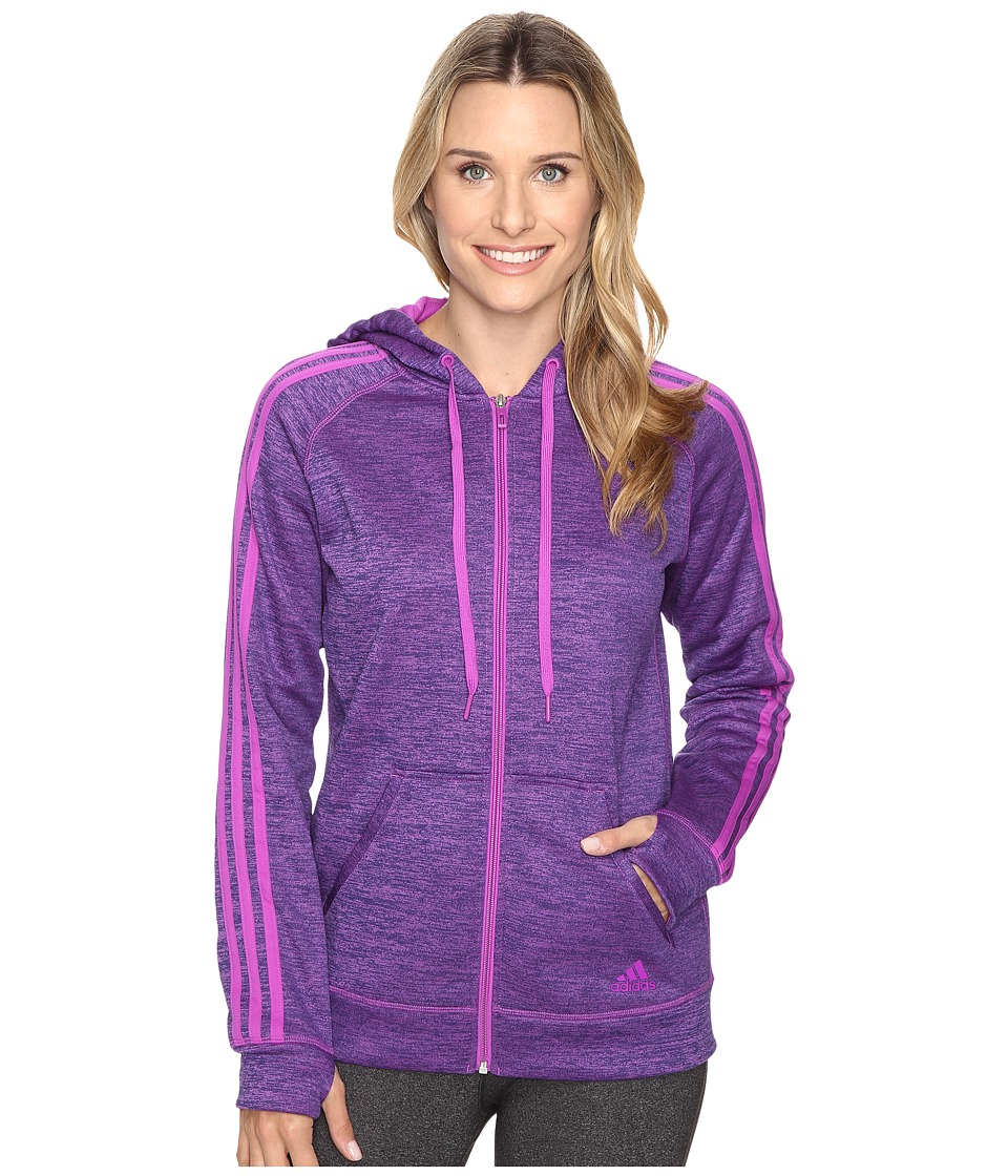 adidas - Team Issue Fleece 3 Stripes Full Zip Hoodie (Shock Purple Heather/Shock Purple) Women's Sweatshirt